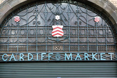 Cardiff Market. Entrance to Cardiff Market, detailed view Royalty Free Stock Photos