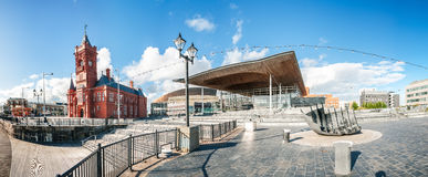Cardiff Millennium Centre with Pierhead Building in Cardiff Bay Royalty Free Stock Photo