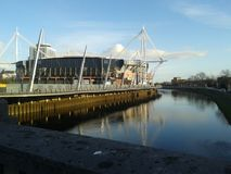 Cardiff Millennium Stadium. Sporting venue on a Sunday night stock photos