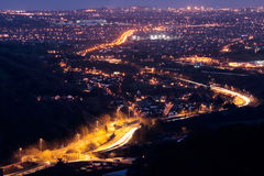 Cardiff at Night. Looking over the city of Cardiff, Wales at night Royalty Free Stock Photography