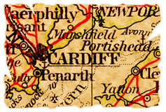Cardiff old map. Cardiff, Wales UK on an old torn map from 1949, isolated. Part of the old map series Stock Photos
