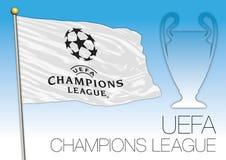 CARDIFF, REINO UNIDO, junio de 2017 - el partido final defiende la taza de la liga, el flaf de la UEFA y el símbolo