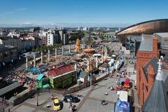 CARDIFF/UK - 27 AUGUSTUS: Mening van de Horizon in Cardiff op Augus stock fotografie