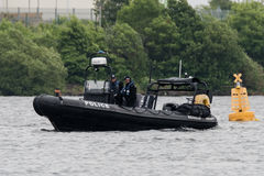 Free CARDIFF, UK - JUNE 02 2017 Police Boat Patrols Cardiff Bay Before Champions League Final. Security Is High As Wales Prepares To H Royalty Free Stock Photo - 93708025