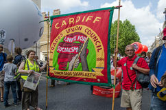 Cardiff Union Banner, protest march Stock Photography
