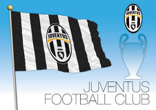 CARDIFF, UNITED KINGDOM, JUNE 2017 - Final Champions League Cup, Flag of Juventus Football Club Royalty Free Stock Photo