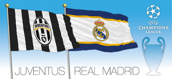 CARDIFF, UNITED KINGDOM, JUNE 2017 - Final match Champions League Cup, Flag of Juventus and Real Madrid Stock Images