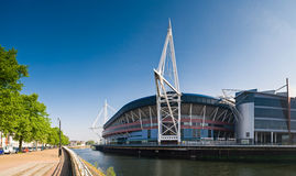 Cardiff Views. Summer sun over the River Taff and Millennium sports stadium in Cardiff stock photography