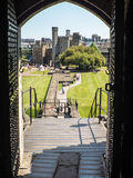 CARDIFF, WALES - JUNE 8 : View of the gounds of Cardiff Castle f Royalty Free Stock Photo