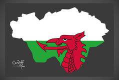 Cardiff Wales map with Welsh national flag Royalty Free Stock Photos