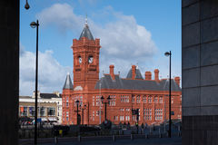 CARDIFF, WALES - MARCH 23 : View of the Pierhead Building in Car Stock Photography