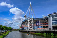 Cardiff, Wales - May 21, 2017: Millennium Football Stadium. Side view with river Stock Photo
