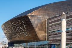 CARDIFF, WALES/UK - 26 DECEMBER: Baai i van Cardiff van het millenniumcentrum Stock Afbeelding