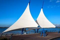 CARDIFF, WALES/UK - 26. DEZEMBER: Teil der Cardiff-Bucht Barrag Stockbild