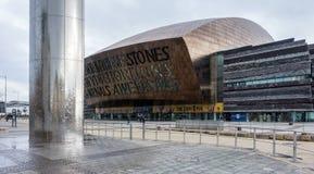 CARDIFF WALES/UK - NOVEMBER 16: Den vattentornet och milleniet Arkivfoton