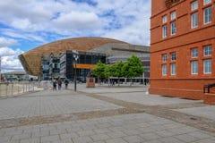 Cardiff zatoka Walia, Maj, - 20, 2017: Milenium Centre dla sztuk Zdjęcie Royalty Free