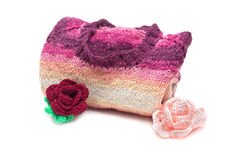 Cardigan with crocheted flowers Royalty Free Stock Image