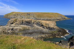 Cardigan Island. Viewed from Carreg lydan Royalty Free Stock Images