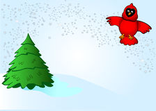 Cardinal argenté de neige Photos stock