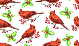 Cardinal birds on branches with red berries, hand painted watercolor illustration