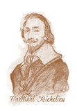 Cardinal Richelieu Engraving Style Sketch Portrait Royalty Free Stock Photography