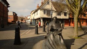 Cardinal Thomas Wolsey statue in Ipswich stock video footage