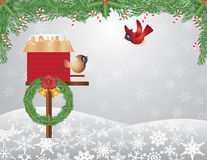 Cardinals Birdhouse with Garland Background. Cardinal Pair on Birdhouse with Garland Bells Wreath and Candy Cane on Snowflakes Background Illustration Stock Photography