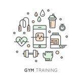 Cardio тренировка, фитнес и разминка спортзала возражают Стоковое фото RF