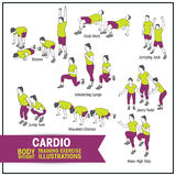 Cardio bodyweight training exercise illustrations. Bodyweight training exercise vector stylised illustrator file with editable strokes Stock Image