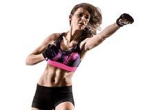 Cardio boxing cross core workout fitness exercise aerobics woman. One caucasian woman exercising cardio boxing cross core workout fitness exercise aerobics Royalty Free Stock Image