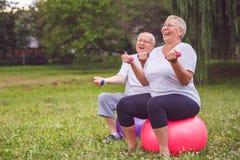 Cardio- exercício para esportes superiores superiores mulher e homem que sentam-se na bola da aptidão com pesos foto de stock royalty free