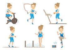 Cardio Exercise. Cartoon Female doing cardio exercise.Vector illustrations Royalty Free Stock Photography