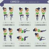 Cardio- grupo do exercício e de exercício ilustração royalty free