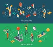 Cardio I siło Trenuje Isometric sztandary Ustawiających royalty ilustracja
