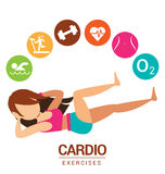 Cardio icon with women exercises Stock Photo