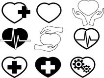 Cardio icons. Heart icons. Vector eps 10 Stock Photos