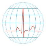 Cardio impulso del cuore del pianeta Terra cardiogram vector la linea dell'impulso con il pianeta illustrazione di stock
