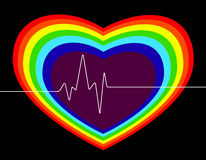 Cardio regnbågehjärta, valentindag Royaltyfria Foton