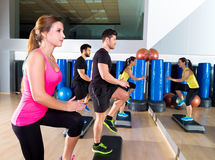 Cardio step dance group at fitness gym training Stock Image