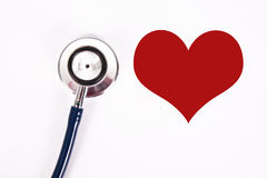 Cardio. Stethoscope with heart, concept of cardiovascular health Stock Photo