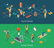 Cardio And Strength Training Isometric Banners Set Stock Images