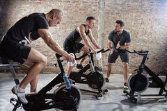 Cardio training on bicycle Royalty Free Stock Photos