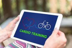 Cardio training concept on a tablet stock photo