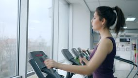 Cardio training, young women does sports on Elliptical trainers in fitness center with large windows. Cardio training, young women does sports on Elliptical stock video