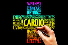 Cardio. Word cloud, health cross concept Stock Image