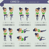 Cardio workout and exercise set Stock Images
