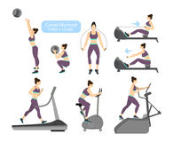 Cardio workout exercises. Cardio workout exercises on white backgroud. Exercises for women. Treadmill, cycling and jumping rope Stock Images
