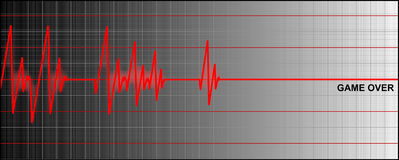 Cardiogram. Ending with 'game over vector illustration