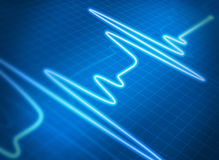Cardiogram blue Stock Image