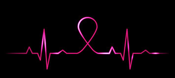 Cardiogram with breast cancer symbol Stock Photos